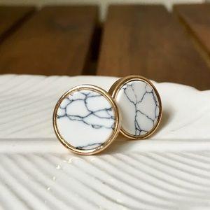 Jewelry - Marble Round Stud Earrings